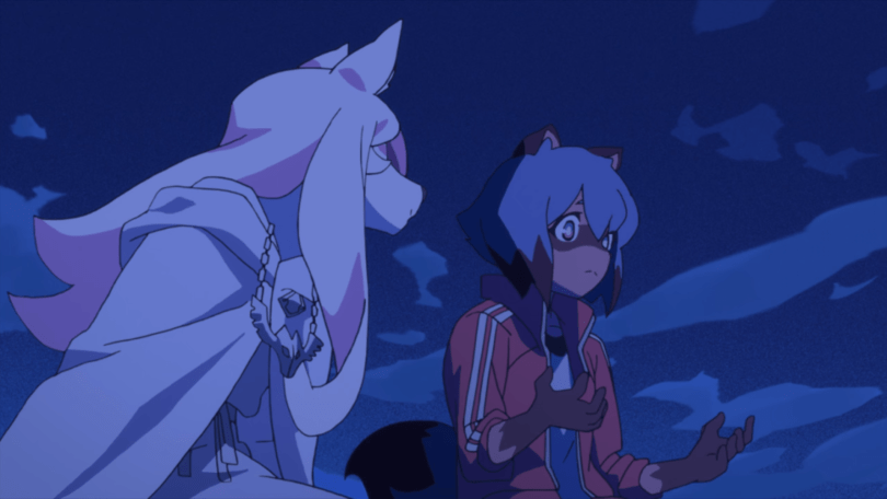 a tanuki girl sitting and talking with a pink wolf girl