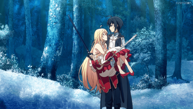 A young man holding swords also holds a beautiful woman in his hands in a princess carry in a frozen landscape