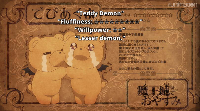 "Two teddy bears with bat wings hug each other and cry in front of a papyrus-style background covered in Japanese writing. Subtitles read ""Teddy Demons. Fluffiness: 7 stars. Willpower: 2 stars. Lesser demons."""