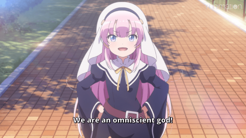 Odin with her hands on her hips. Subtitle: We are an omniscient god!