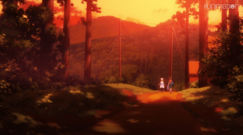 two small figures walking through a forest during a very read sunset