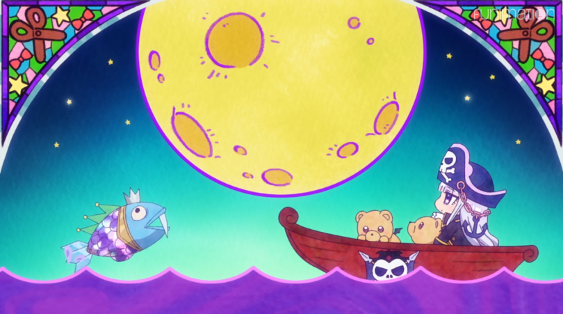 Chibi Sleepy Princess dressed as a pirate and riding in a boat with demon bears under a giant moon
