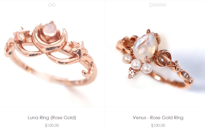 Sailor Moon inspired rings
