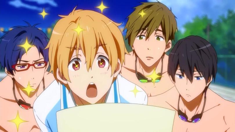 Rei, Nagisa, Makoto, and Haru. Nagisa in foreground with sparkles making :O face