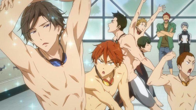 The Samezuka swim team flexing