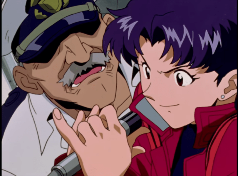 Misato grabbing a microphone from a bewildered sea captain