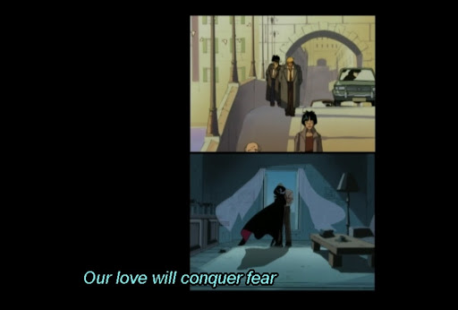 Two images of Cybersix with Adrian, during the day and at night. subtitle: Our love will conquer fear