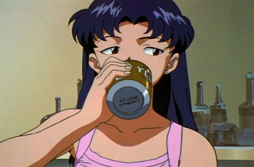 misato drinking a beer and looking skeptical