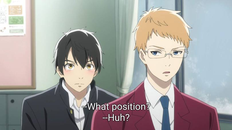 """Chika glances over his shoulder at a blushing Yuni, and asks """"What position?"""""""