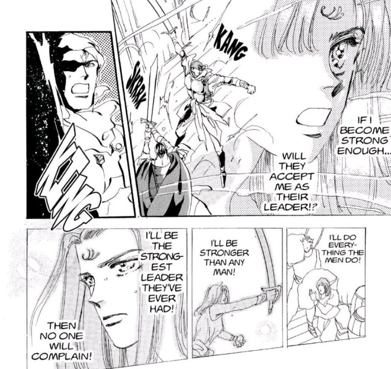 "Manga panels of a young Chacha battling men as she thinks ""If I become strong, will they accept me as their leader? I'll do everything a man can! I'll become stronger than any man! Then no one will complain!"""