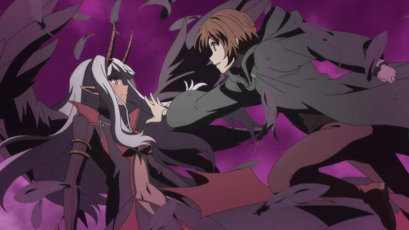 Keyaru leaps forward, reaching towards the neck of the demon king. She looks sad; he looks surprised and concerned.