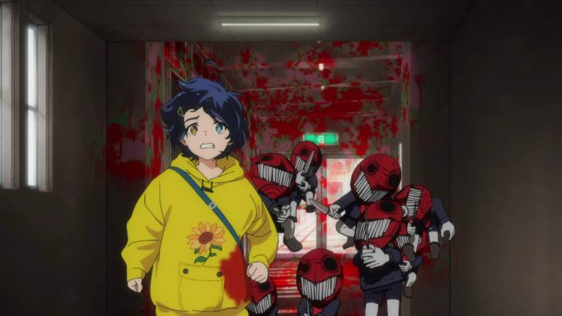 Ai flees down a hallway from a group of tiny red-faced monsters wearing murderous grins and wielding knives