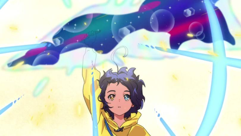Ai holds aloft a pen that glows with raws of light and cosmic energy above her head.