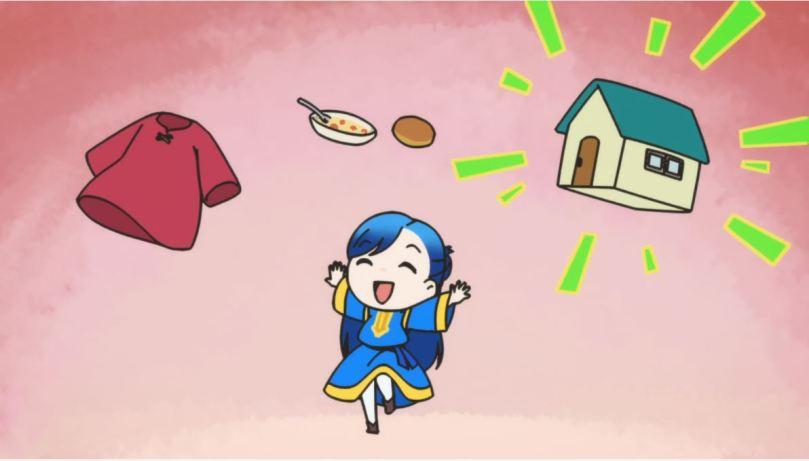 chibi Main joyously celebrating images of clothing, food, and housing