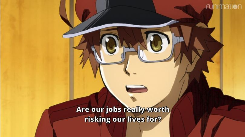 close-up of Red. subtitle: Are our jobs really worth risking our lives for?