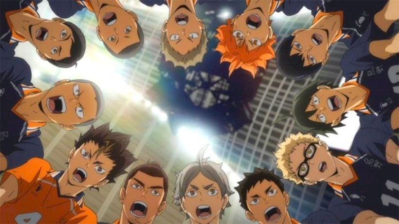 a shot from below of the main characters in a circular huddle on the court