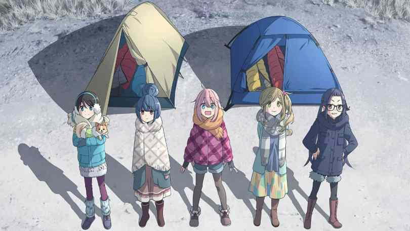 the main cast of laid-back camp standing in front of two tents