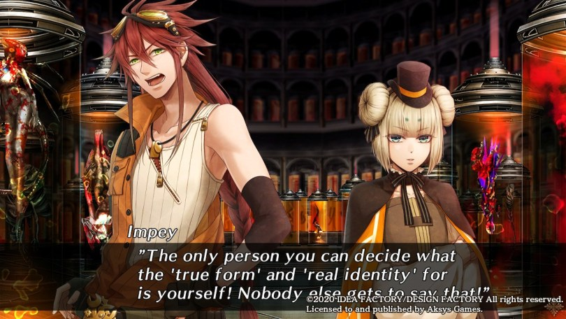 "Impey speaks to a girl wearing a tiny top hat and cinnamonroll buns on her head inside a dark chamber filled with grotesque science experiments. ""The only person you can decide what the 'true form' and 'real identity' for is yourself! Nobody else gets to say that!"""