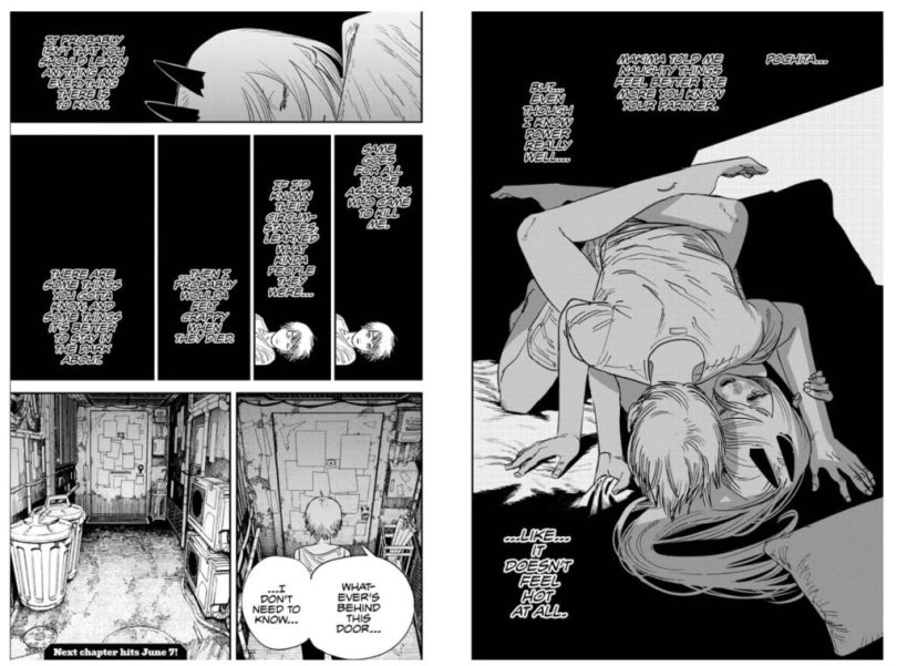 two-page spread of Denji and Power in bed together
