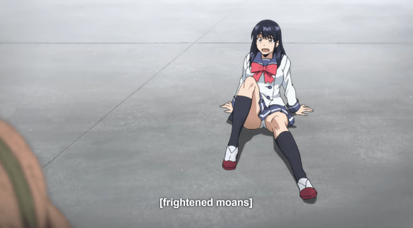 A girl sits on the ground, her skirt flown up and her face shocked. Subtitle text reads [frightened moans]