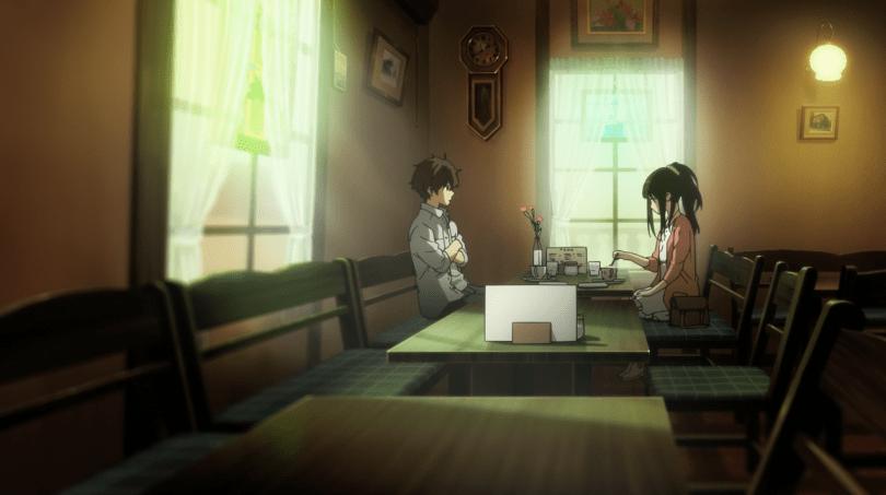 Oreki and Chitanda in a cafe