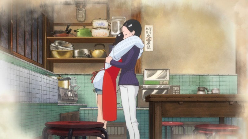 Kiyo and Sumire hug in the kitchen