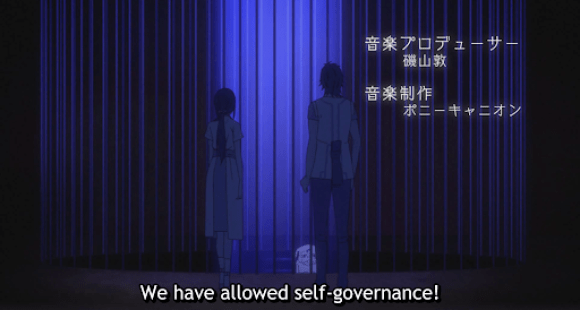 cloaked figures looking at a caged naked monster rat. subtitle: We have allowed self-governance!