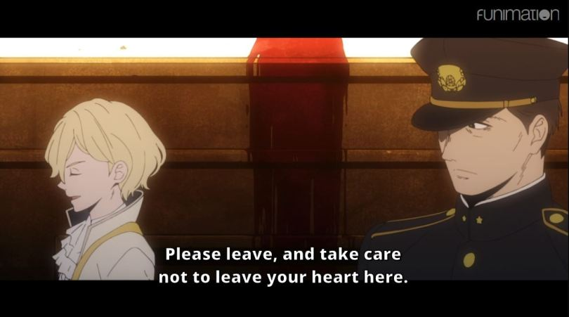 Maeda and the vampire, with a bloody stage between them. subtitle: Please leave,and take care not to leave your heart here