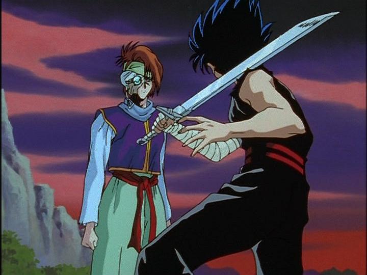 Hiei preparing to attack Mukuro