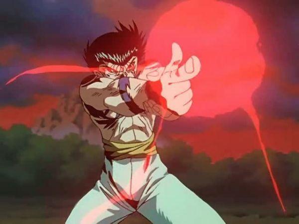 Yusuke powering up his spirit gun