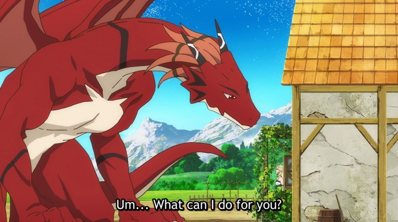 A red dragon sitting in front of a cottage. The owner of the cottage is staring up at it bewildered. Subtitle text reads: Um... what can I do for you?