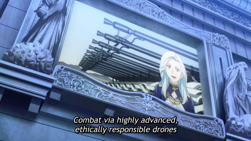 """A video screen of a silver-haired woman saying """"Combat via highly advanced, ethically responsible drones."""""""