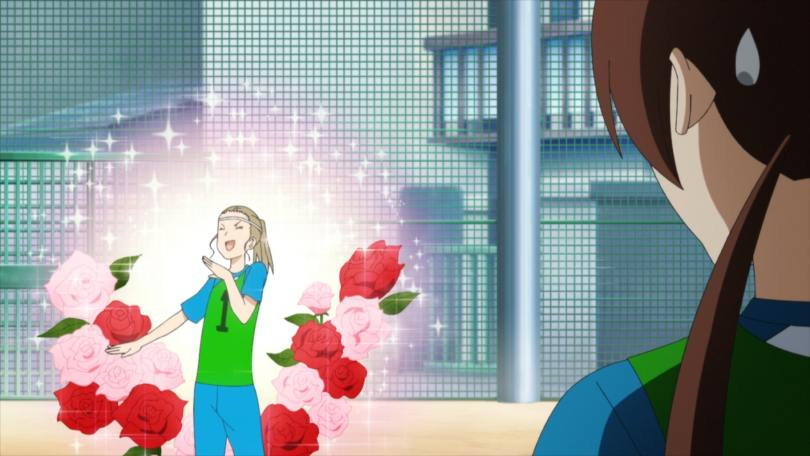 Aya holds a hand to her mouth and cackles while roses and sparkles pop up behind her. Midori looks on with a sweatdrop.