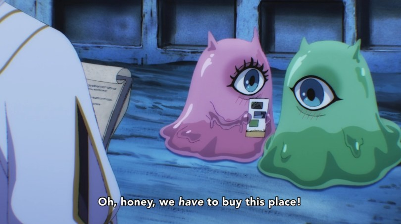 A pair of fantasy slimes in a cave. Subtitle text reads: Oh honey, we have to buy this place!