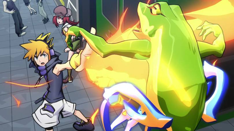 Neku looks over his shoulder and raises a hand, blasting a frog-shaped Noise with fire.