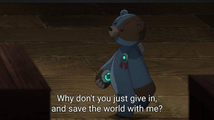 a robot teddy bear. subtitle: why don't you just give in, and save the world with me?