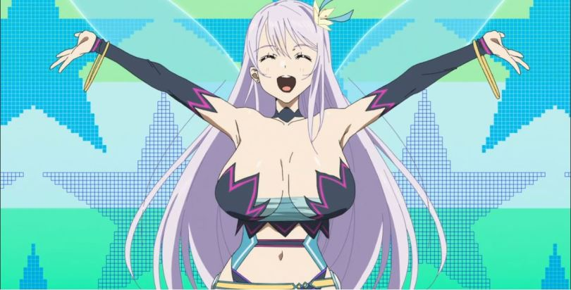 A girl in a skimpy elf costume smiling and spreading her arms wide