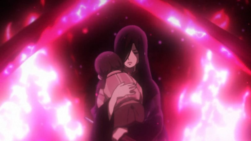 Joran embracing a child protectively surrounded by vivid pink flames