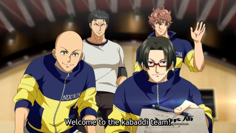 the four members of kabaddi team. they are...bulky. subtitle: Welcome to the kabaddi team!