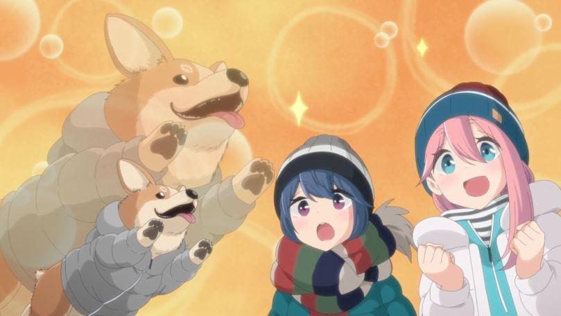 Rin and Nadeshiko dazzled with joy at the sight of a corgi in a jacket