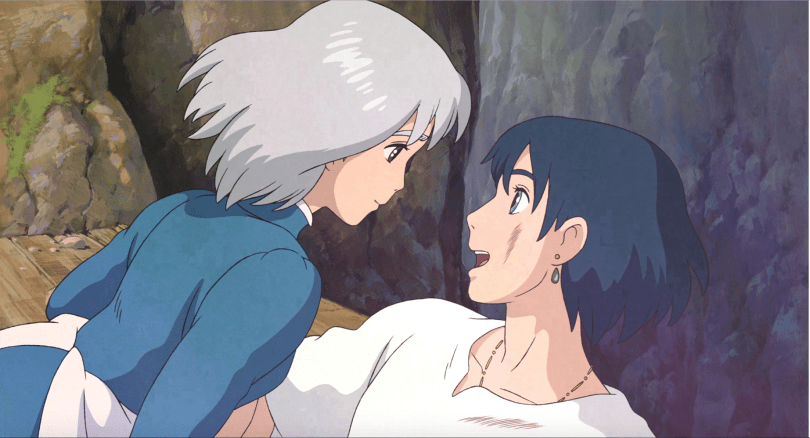 Sophie and Howl smiling at each other. Sophie's face and figure look youthful again, but her hair is still silver
