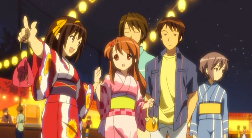 the SOS Brigade at a festival with the girls wearing kimonos