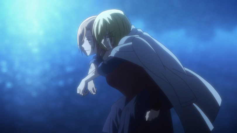 Kyoko carrying Uo on her back as Uo cries