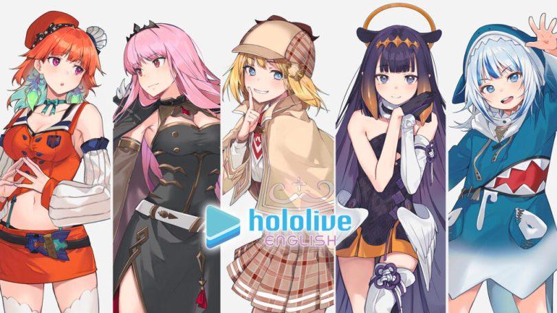 The five current members of Hololive EN. Artwork by Hololive EN member Ninomae Ina'nis