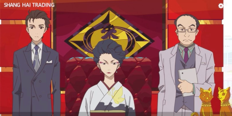 Makoto translating for Akemi while he and Ishigami stand next to her.