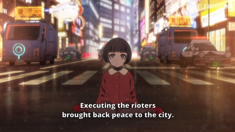 A small girl on a city street. An Executioner speaks to her. Subtitle: Executing the rioters brought back peace to the city