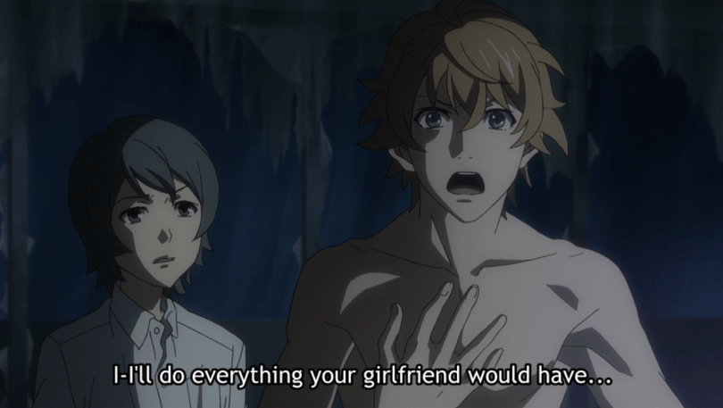 Impassioned (and naked) Masayoshi. subtitle: I'll do everything your girlfriend would have.