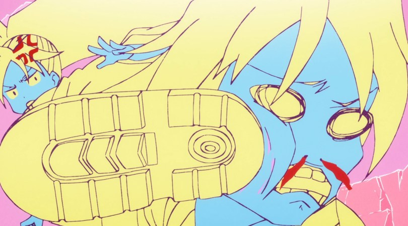 Closeup of a teenaged boy being kicked across the face, his expression cartoonish pain. The characters are drawn in pale blues and yellows