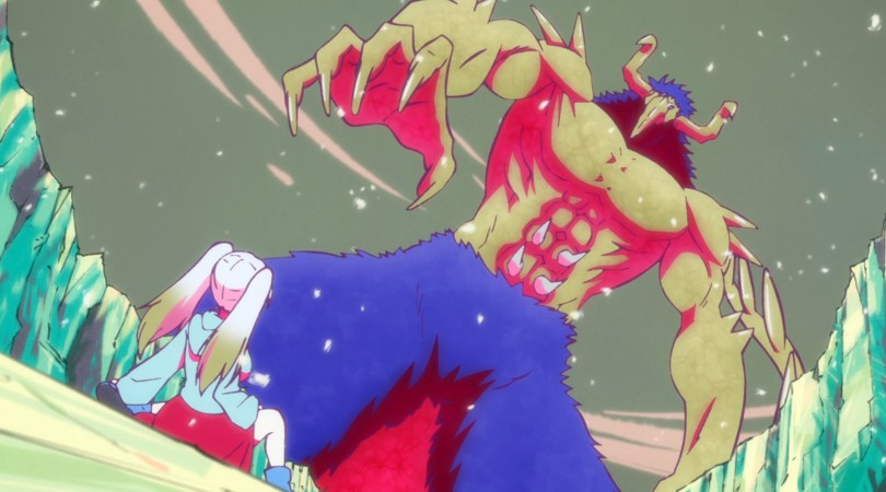 A girl cowering in front of a giant horned monster