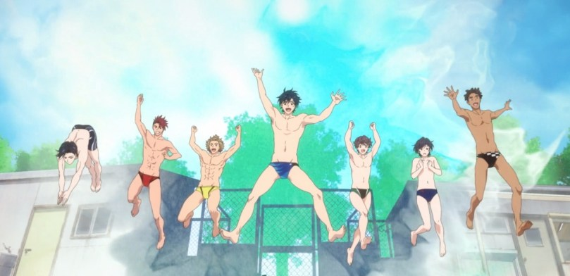 Minato and his team jumping in the water.